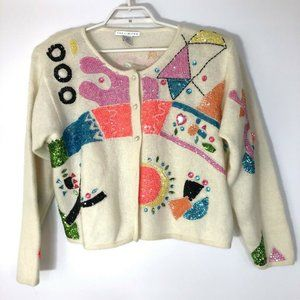 The Limited vtg lambswool/angro cardigan sweater m